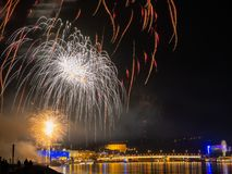 Fireworks over a city at night stock photos