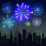 Fireworks over the city. Fireworks over the night city, panoramic cityscape. Vector Stock Photos