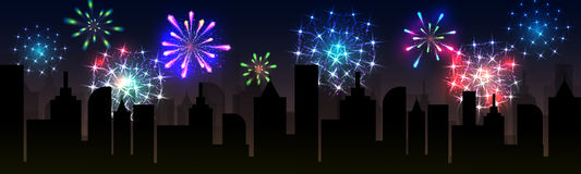 Fireworks over the city. Fireworks over the night city, panoramic cityscape. Vector Royalty Free Stock Photo