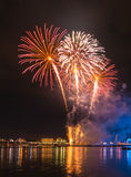Fireworks over city Royalty Free Stock Photos