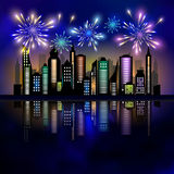Fireworks over the city. Skycrapers and fireworks. City skyline. City vector illustration Stock Image