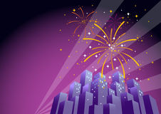 Fireworks Over a City Skyline-Horizontal 1. Illustration of searchlights in the sky and fireworks exploding over a city at night, with copy space on the left Stock Images