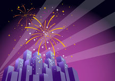 Fireworks Over a City Skyline-Horizontal 2. Illustration of searchlights in the sky and fireworks exploding over a city at night, with copy space on the right Stock Image