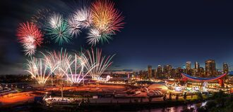 Fireworks Over City Skyline In Calgary, Alberta, Canada Stock Images