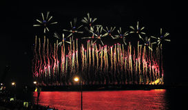 Fireworks over the city of St. Petersburg  on the feast of Stock Image