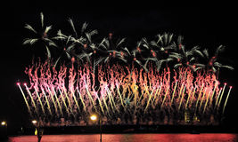 Fireworks over the city of St. Petersburg  on the feast of Royalty Free Stock Photo