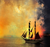 Fireworks over the city of St. Petersburg  on the feast of Royalty Free Stock Photography