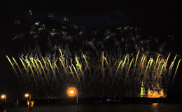 Fireworks over the city of St. Petersburg (Russia)aqnd Neva River on the feast of Stock Image