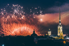 Fireworks over the city of St. Petersburg Russia on the feast of `Scarlet Sails` Stock Photography