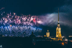 Fireworks over the city of St. Petersburg Russia on the feast of `Scarlet Sails` Stock Image