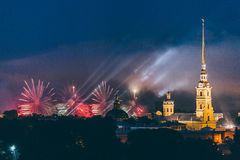 Fireworks over the city of St. Petersburg Russia on the feast of `Scarlet Sails` Royalty Free Stock Images