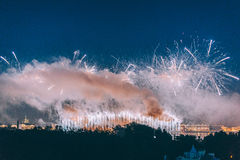 Fireworks over the city of St. Petersburg Russia on the feast of `Scarlet Sails` Stock Photo
