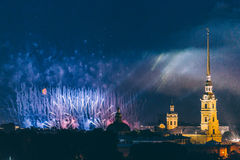 Fireworks over the city of St. Petersburg Russia on the feast of `Scarlet Sails` Royalty Free Stock Photography