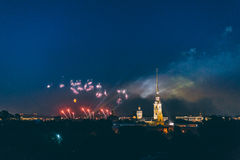 Fireworks over the city of St. Petersburg Russia on the feast of `Scarlet Sails` Royalty Free Stock Photos