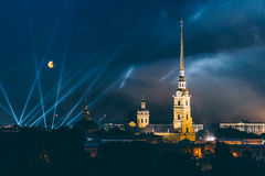 Fireworks over the city of St. Petersburg Russia on the feast of `Scarlet Sails` Royalty Free Stock Image