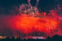 Fireworks over the city of St. Petersburg Russia on the feast of `Scarlet Sails` Royalty Free Stock Photo