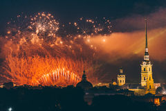 Fireworks over the city of St. Petersburg Russia on the feast of `Scarlet Sails` Stock Photos