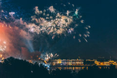 Fireworks over the city of St. Petersburg Russia on the feast of `Scarlet Sails` Stock Images