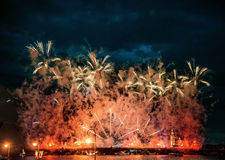 Fireworks over the city of St. Petersburg (Russia) Stock Photos