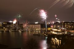 Fireworks over Copenhagen. A lot of fireworks over Copenhagen shot with a long shutter Stock Photo