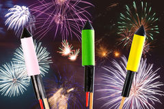 Fireworks over dark sky with display Royalty Free Stock Image
