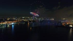 Fireworks over the Delaware River Philadelphia Pennsylvania stock video