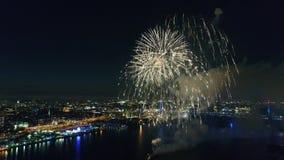 Fireworks over the Delaware River Philadelphia Pennsylvania stock footage