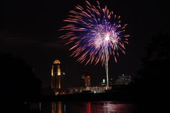 Fireworks over Des Moines. Iowa during Independence Day celebrations (July 4, 2008 royalty free stock photography