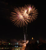 Fireworks over Des Moines. Iowa during Independence Day celebrations (July 4, 2008 stock photography