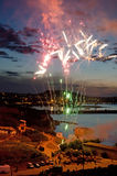 Fireworks over Feodosia Royalty Free Stock Photos