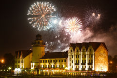 Fireworks over the Fishing Village in Kaliningrad Royalty Free Stock Photo