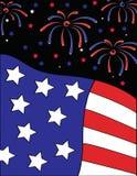Fireworks Over Flag. Patriotic illustration of fireworks over a United States flag Stock Photos