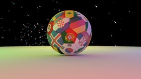 Fireworks over the football with the flags of the 2018 World Cup participants rotating on the white surface, 3D rendering, loop.  stock video footage
