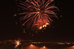 Fireworks over the freeway. Image of fireworks over Lehi Utah near the freeway royalty free stock photo