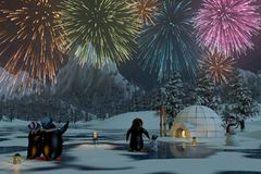 Fireworks over a frozen lake with penguins, 3d render. Fireworks over a frozen lake in a snowy mountain landscape with penguins. A 3d render Royalty Free Stock Photo