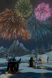 Fireworks over a frozen lake with penguins, 3d render. Fireworks over a frozen lake in a snowy mountain landscape with penguins. A 3d render Royalty Free Stock Photography