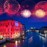 Fireworks over the Grand Canal of Venice Stock Photos