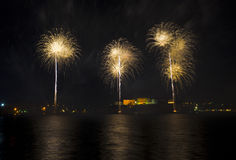 Fireworks over the Grand Harbour - Malta. The annual Fireworks Festival in Malta Stock Photo