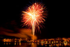 Fireworks over the harbor. Of Oskarshamn, Sweden,for New Year's celebration Royalty Free Stock Images