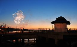 Fireworks Over Harbor Royalty Free Stock Image