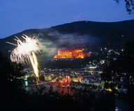 Fireworks over Heidelberg royalty free stock photography