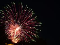 Fireworks. Over a house in a small town in Illinois Stock Images