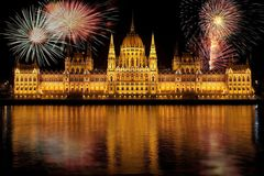 Fireworks over Hungarian Parliament Stock Photos