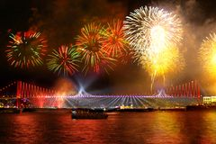 Fireworks over the Istanbul. Istanbul celebrates to Anniversary of Republic with a great show from 16 different points. Fireworks show started on the Bosporus Royalty Free Stock Photography