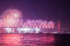 Fireworks show in Istanbul Bosphorus. Turkey. Royalty Free Stock Photography