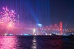 Fireworks show in Istanbul Bosphorus. Turkey. Royalty Free Stock Photo