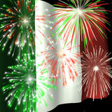 Fireworks over Italian Flag 1. Fireworks displayed over the Italian Flag against a night sky Royalty Free Stock Photo