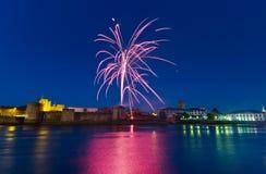 Fireworks over King John Castle Stock Photo
