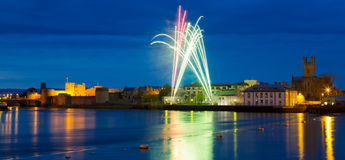 Fireworks over King John Castle in Limerick. Ireland Stock Images