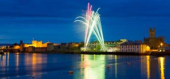 Fireworks over King John Castle in Limerick Stock Images